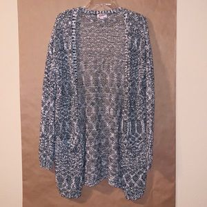 Arizona crochet/knit long open cardigan w/pockets